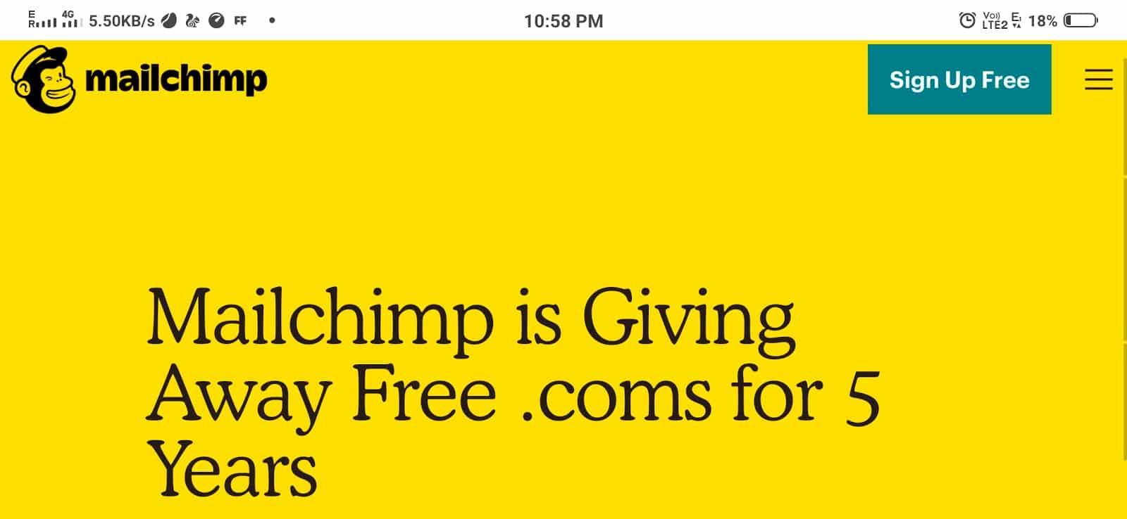 أحصل على دومين مجاني من Mailchimp لمدة 5 سنوات